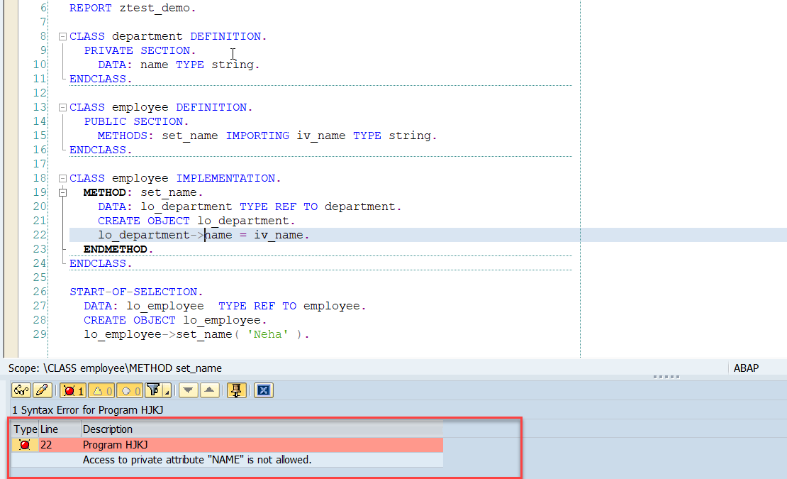 ABAP Friend Class Example 1