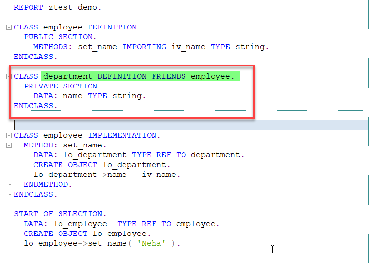 ABAP Friend Class Example 2