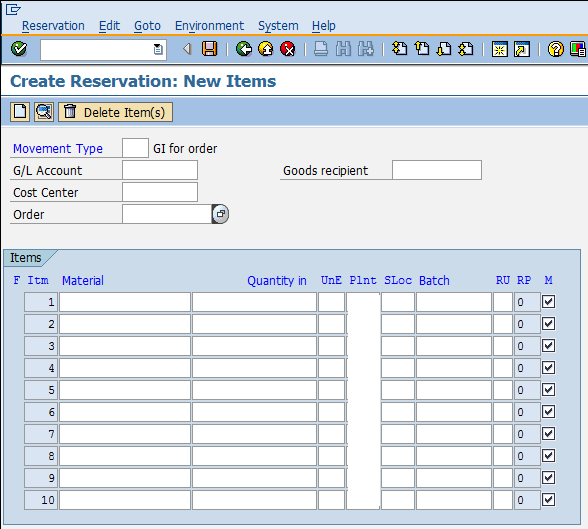Create Reservation: Inventory Management in SAP