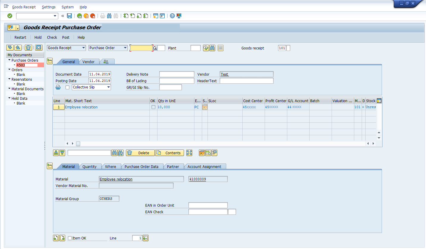 Enter Details Goods Receipt: Inventory Management in SAP