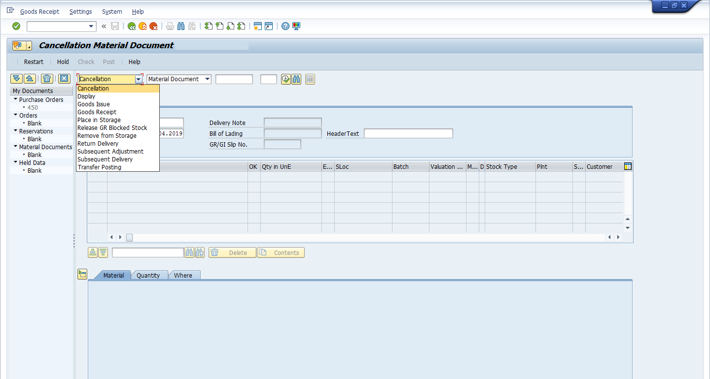 MIGO Cancel a Goods receipt: Inventory Management in SAP