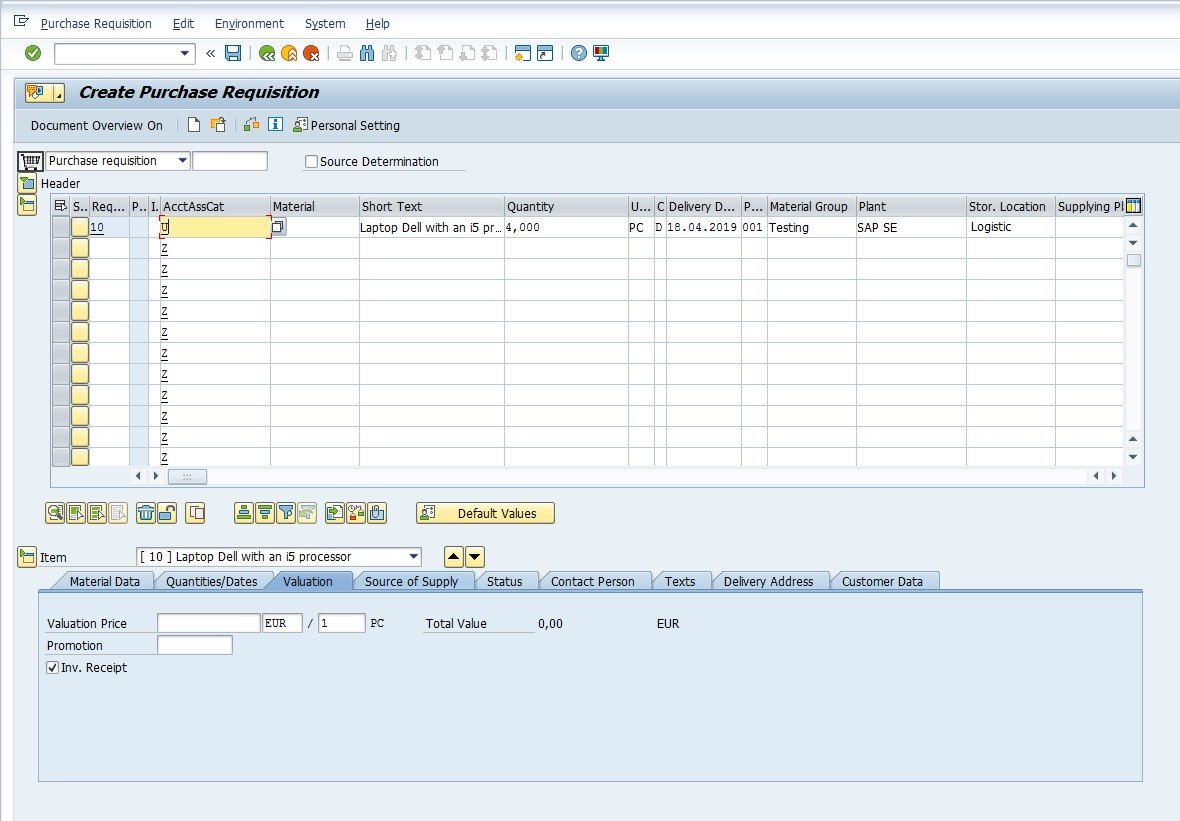 Purchase requisition without master data 2