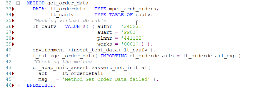 Unit Testing of Method GET_ORDER_DATA