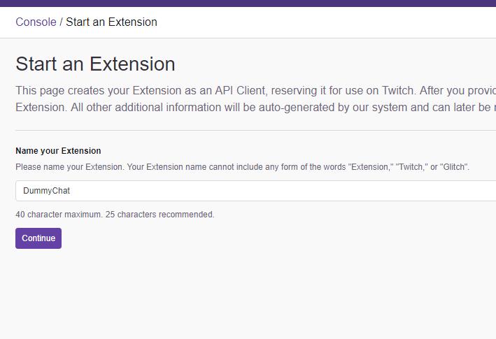 Start an Extension