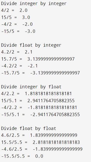 Division Operators in Python Output 1