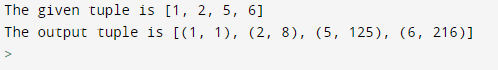 Program to create the tuple with elements as number and its cube from the given list of tuple Output