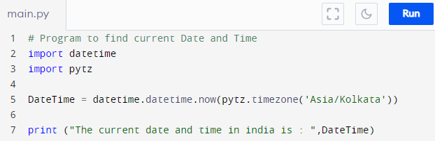 Program to find current Date and Time using Python