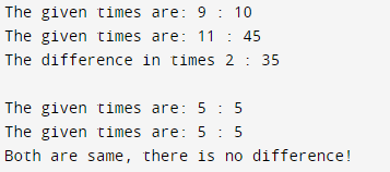 Program to find difference between current and given time Output