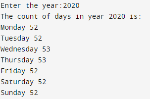 Program to find number of times each day occurs in a year Output
