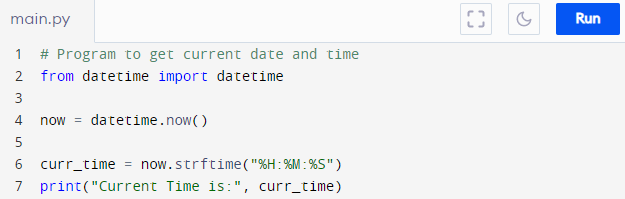 Program to get current time using Python